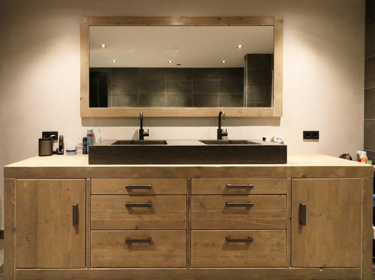 Meubel met dubbele wastafel (150x50x16) en meubelgreep Evi